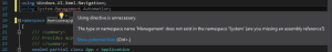 XAML - Using directive is unnecessary